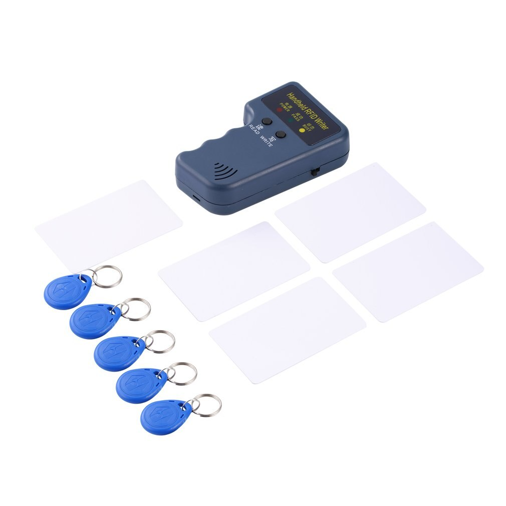 125KHz EM4100 RFID copiadora escritor duplicador programador lector + 5 uds regrabable ID Keyfobs etiquetas tarjeta de mano