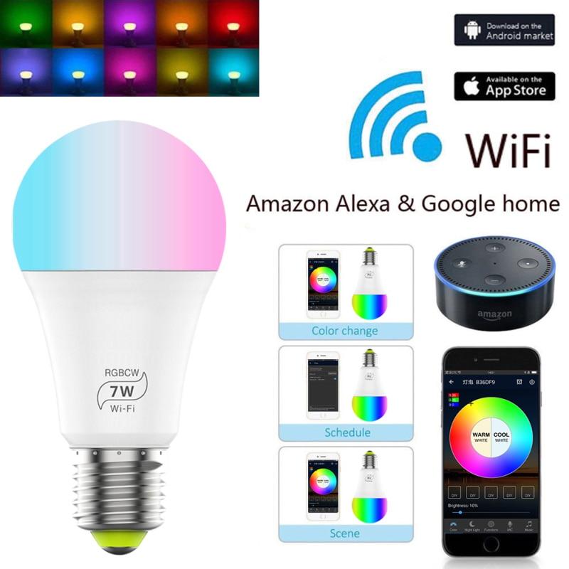 Bombilla LED inteligente E27 de 7 w, con WiFi, Multicolor, funciona con las apps Alexa Echo, Google Home, RGB y Homekit