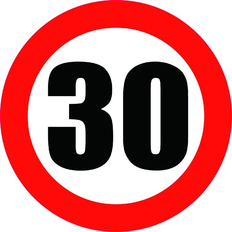 Pegatina Aliauto para el límite de velocidad, señal de 30KM, accesorio adhesivo de 30cm