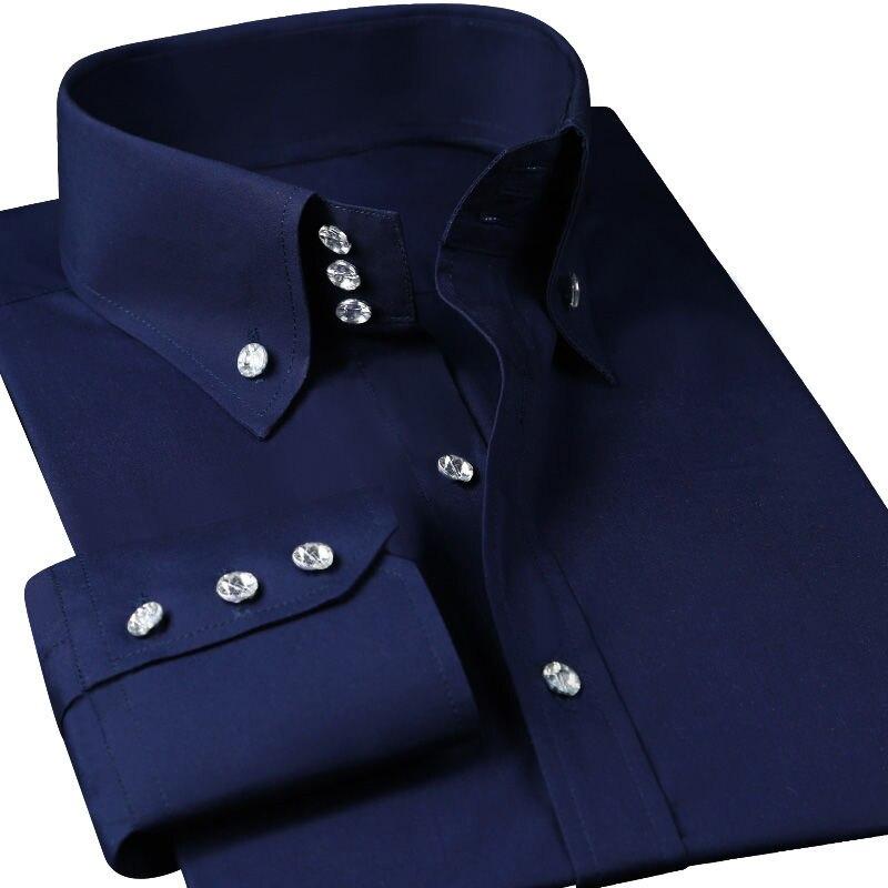 Casual Diamant Knoppen Heren Dress Shirts Lange Mouw Zwart Luxe Zakelijke Mode Slim Fit Hoge Kraag Stadium Western Blouse