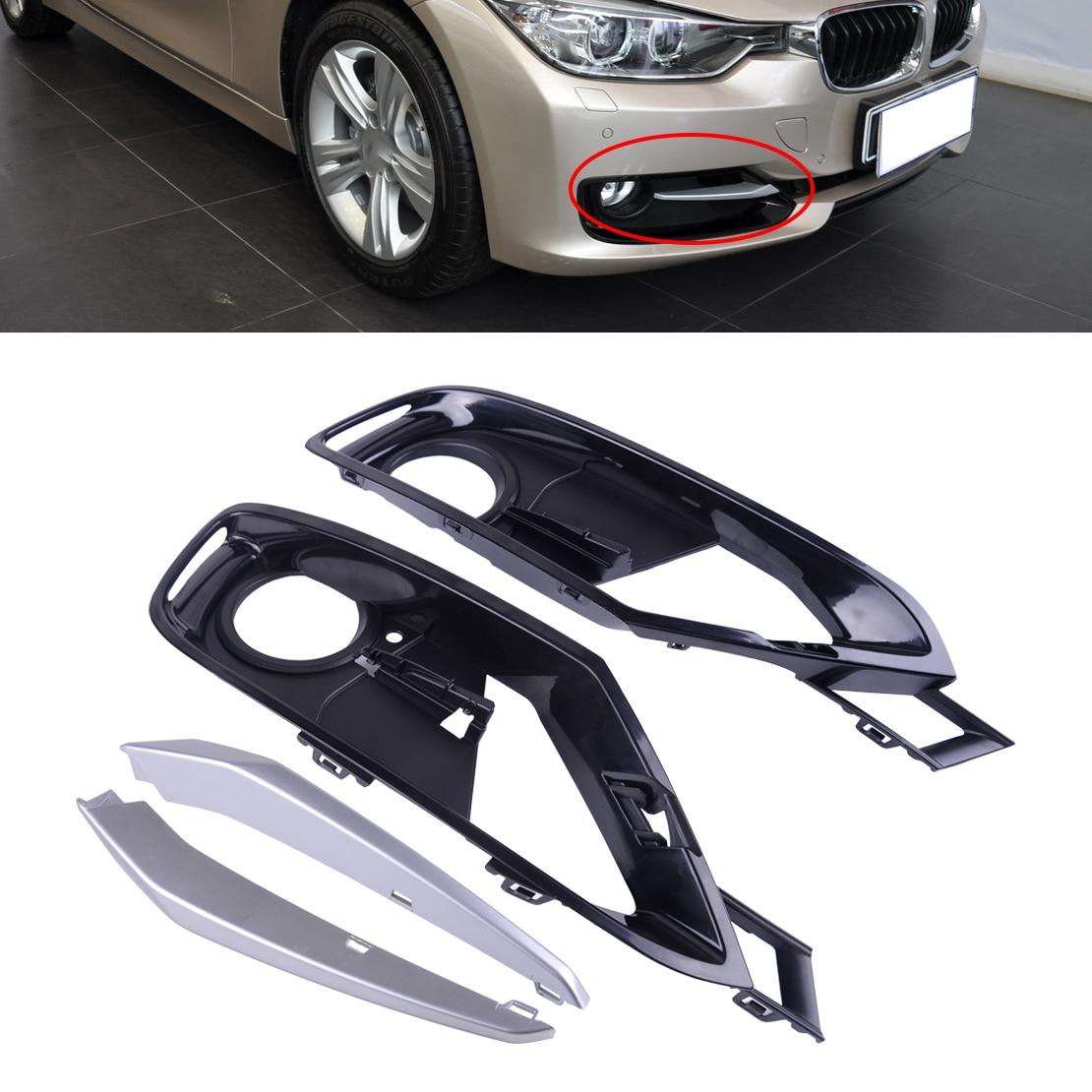 DWCX 2 rejilla de luz antiniebla del parachoques delantero parrilla 2 borde Chrom 51117300739 51117300740 ajuste para BMW Serie 3 F30/F31 2012-2015
