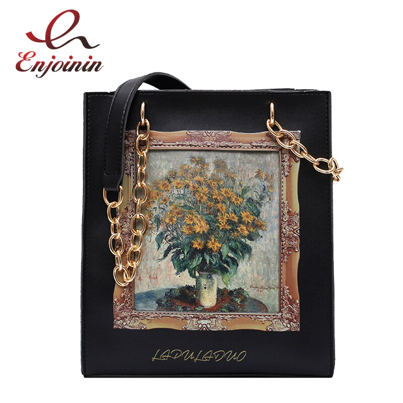 Black Oil Frame Design Pu Leather Crossbody Bag for Women Messenger Bag Ladies Purses and Handbags Female Shoulder Chain Bag