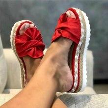 Pantofole da donna estate 2020 zeppe con plateau tacchi medi papillon Peep Toe moda scivoli spiaggia scarpe da donna all'aperto Zapatos De Mujer
