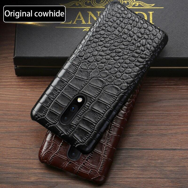 Funda de teléfono de cuero genuino para Oneplus 6 6T 7 7 Pro Piel de vaca Natural de lujo Textura de cocodrilo funda trasera fundas capa
