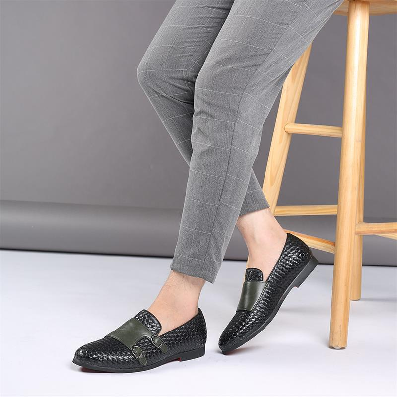 2021 Men's Shoes Spring and Autumn Pure Color PU Classic Double Buckle Woven Pattern Comfortable Fashion Casual Loafers ZZ279