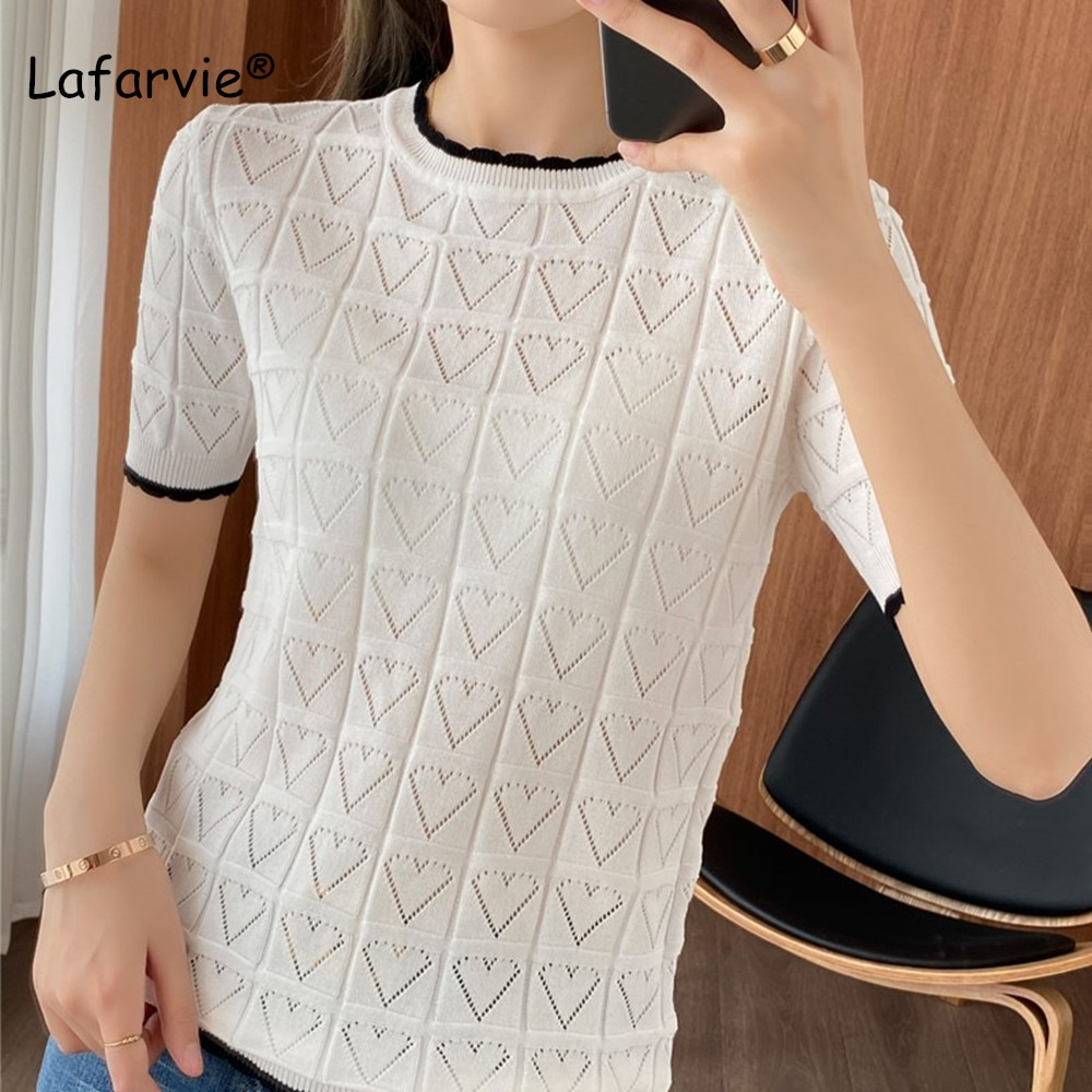 Lafarvie-Camiseta blanca con cuello redondo para Mujer, Ropa De Verano, Top De...