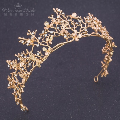 golden vintage fairy wood/sea theme tiaras hair decoration party/ballet/stage princess stage performance headwear