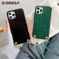 ekoneda crossbody neck shoulder strap case for iphone 11 12 pro xs max x xr 6s 7 8 plus se case crocodile pu phone back cover