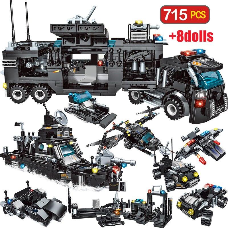715 stücke City Polizei Station Auto Bausteine Für Stadt SWAT Team Lkw Haus Blöcke Technik Diy Spielzeug Für Jungen kinder