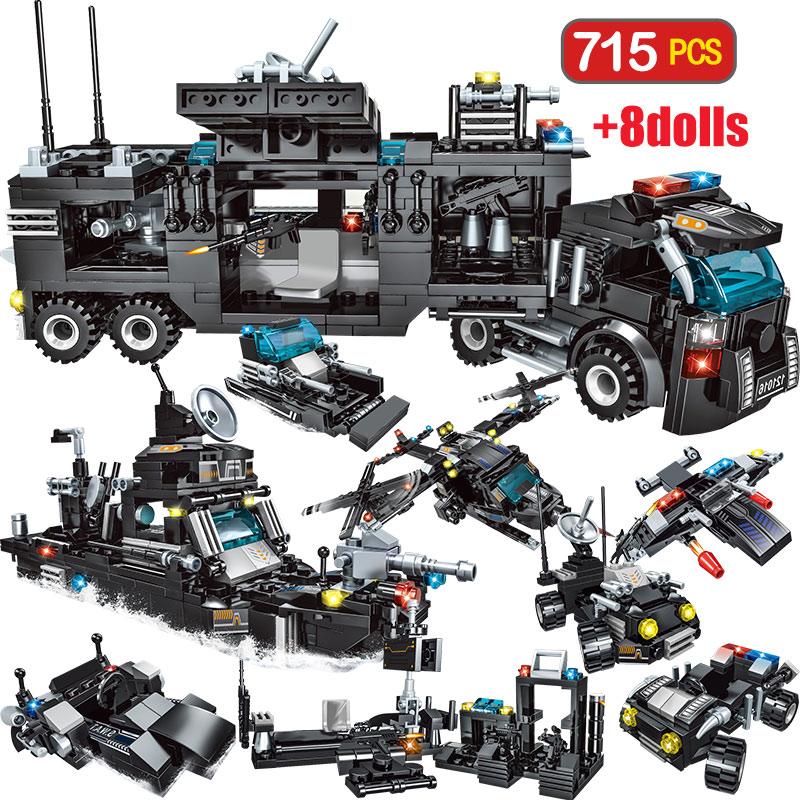 715 шт., городской полицейский участок, строительные блоки для городской спецназ, команда грузовиков, блоки для дома, техника, сделай сам, игру...