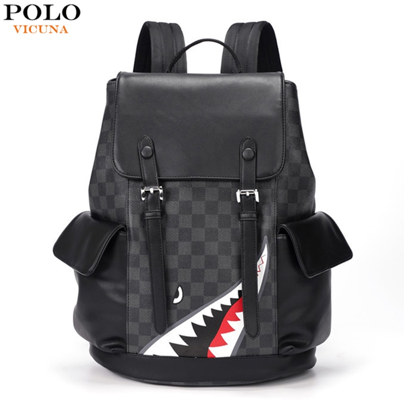 2018 design women black pu leather backpack high quality casual large capacity backpacks for school travel bag for women VICUNA POLO Personality Plaid Leather Men Backpack Bag Large Capacity Travel Backpack School Laptop Backpacks For Men/Women