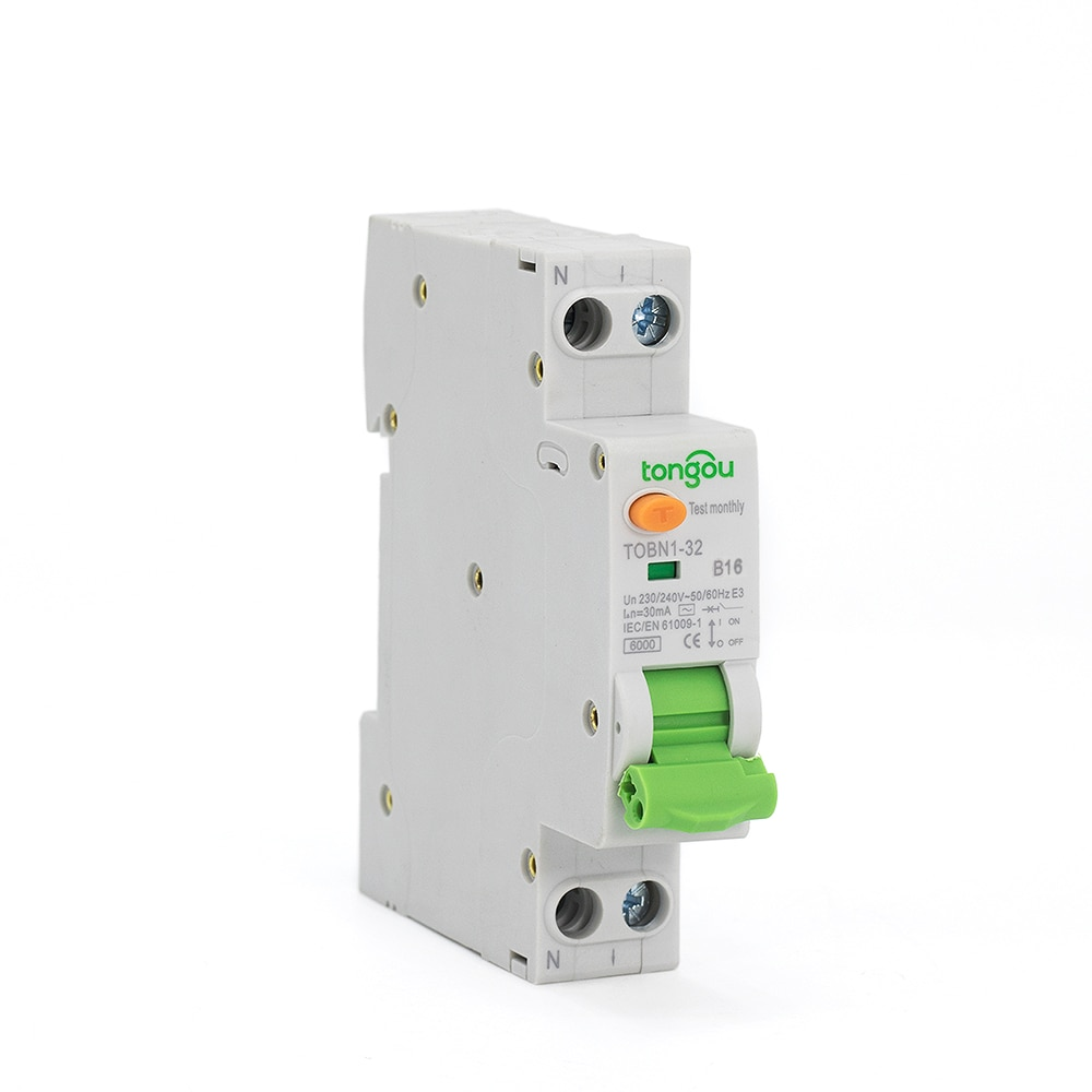 AliExpress - 6KA 18mm RCBO Curve B 16A 30mA 1P+N Residual Current Circuit Breaker with Over Current and Leakage Protection Differential