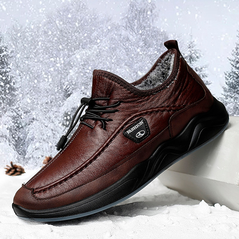 Zapatos cálidos de felpa informales para hombre, botas para nieve de invierno, zapatos de cocinero impermeables de Pu, zapatillas para caminar con fondo suave al aire libre para hombre