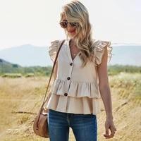 fridayin summer fashion 2021 womens sweet v neck solid color tops basic white and apricot short sleeve kawaii thin top shirt