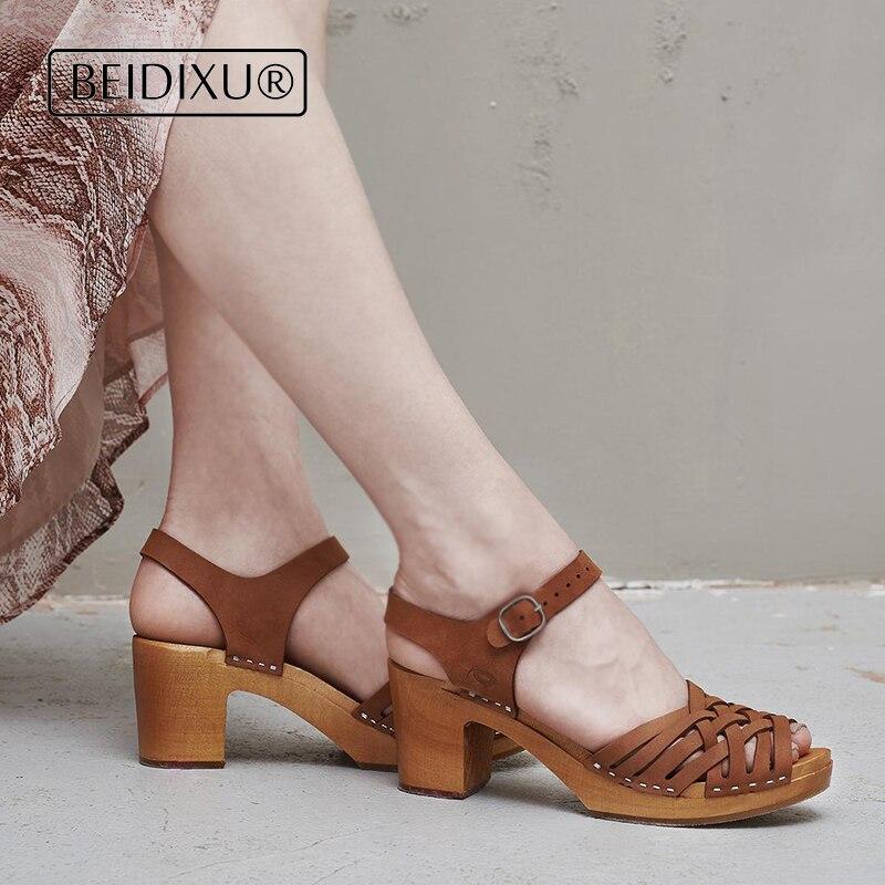 Zuecos de cuero marrón de Kulik, zuecos suecos, zuecos de madera para mujer, zapatos, zuecos, sandalias, zuecos de camello para mujer