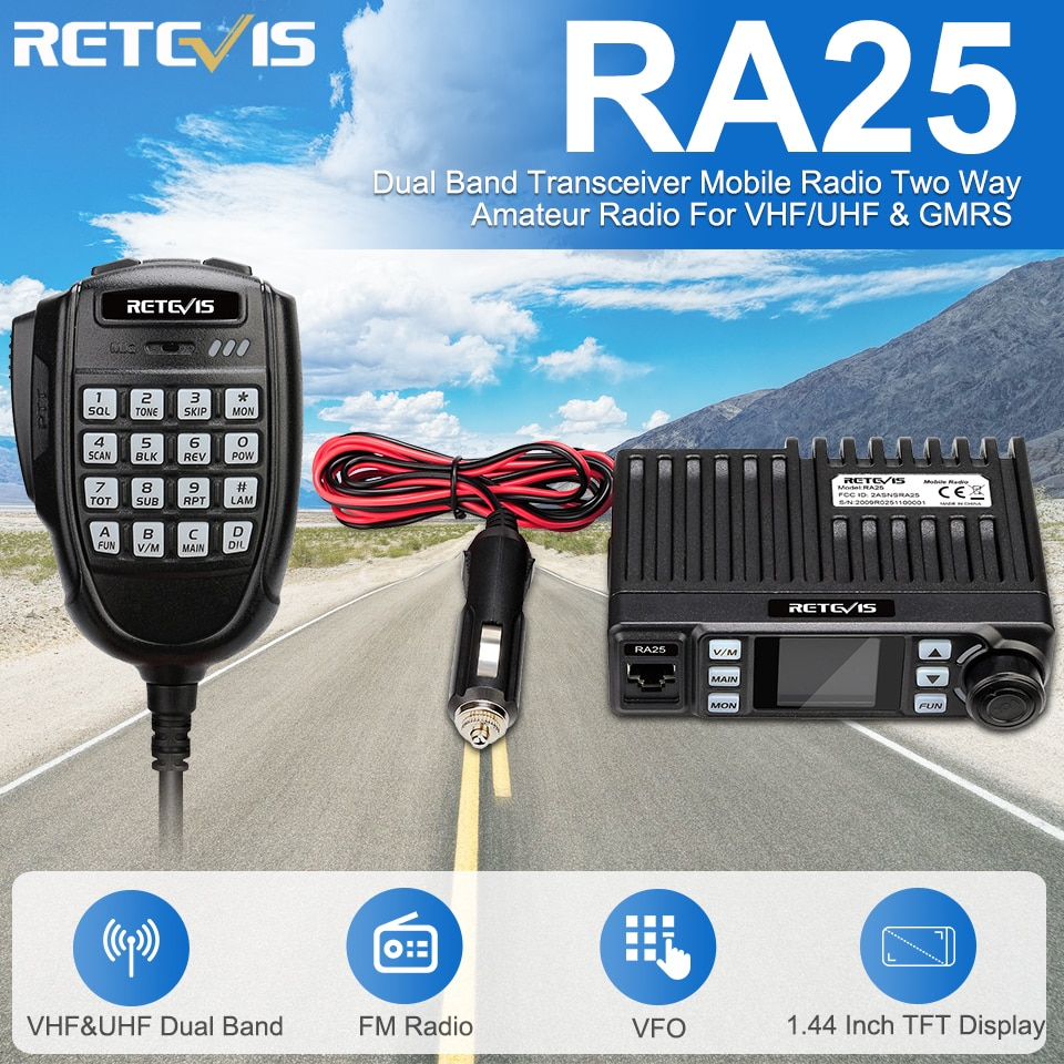 Retevis RA25 Car Mobile Radio UV Dual Band/GMRS TFT Display 20W Walkie Talkie for Car 500/30CH Car Two-way Radio Amateur Truck