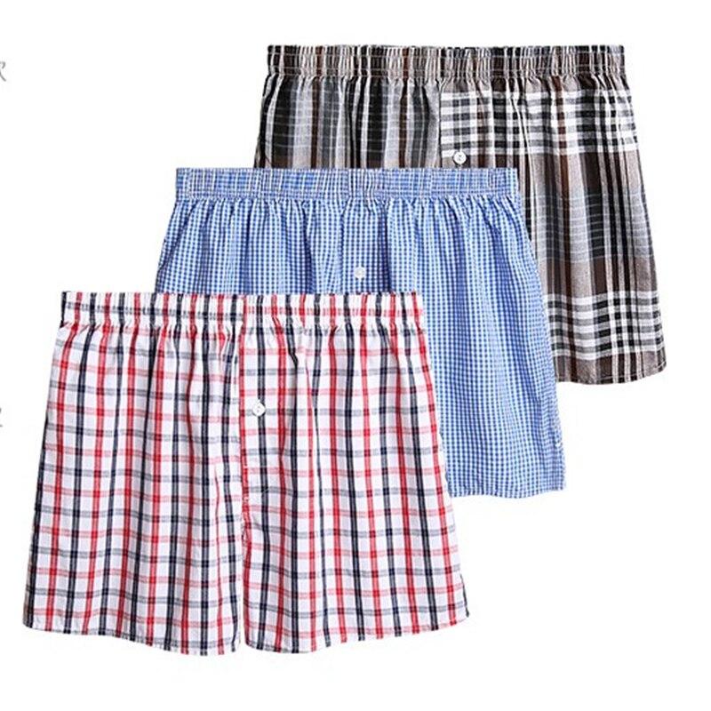 Summer 100% Cotton Sleep Bottoms Men Sleep Shorts Casual Men Loose Pants Leisure Plaid Home Underwea
