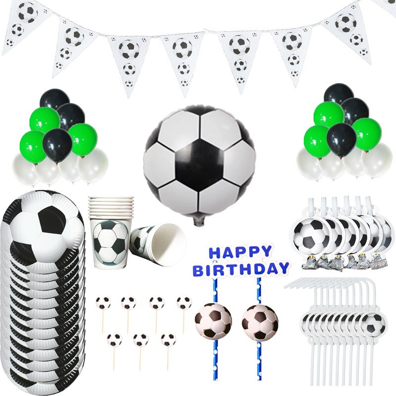 Football Soccer Theme Decoration Set Party Kids Birthday Party Decoration Set Party Supplies Cup Plate Banner Hat