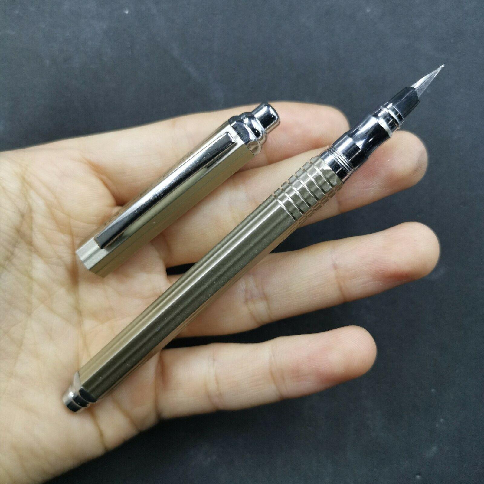 Pluma fuente gris lapicero de tinta de Metal Hexagonal único sistema de relleno aerométrico F nib papelería de oficina suministros escolares regalo de escritura