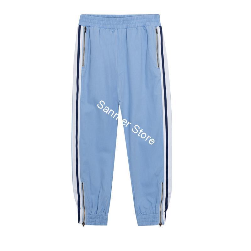 Pantalones de rayas laterales para mujer, cintura elástica, azul claro, informales, deportivos, pantalones Harlan a la altura de la pantorrilla con cremallera, verano 2020