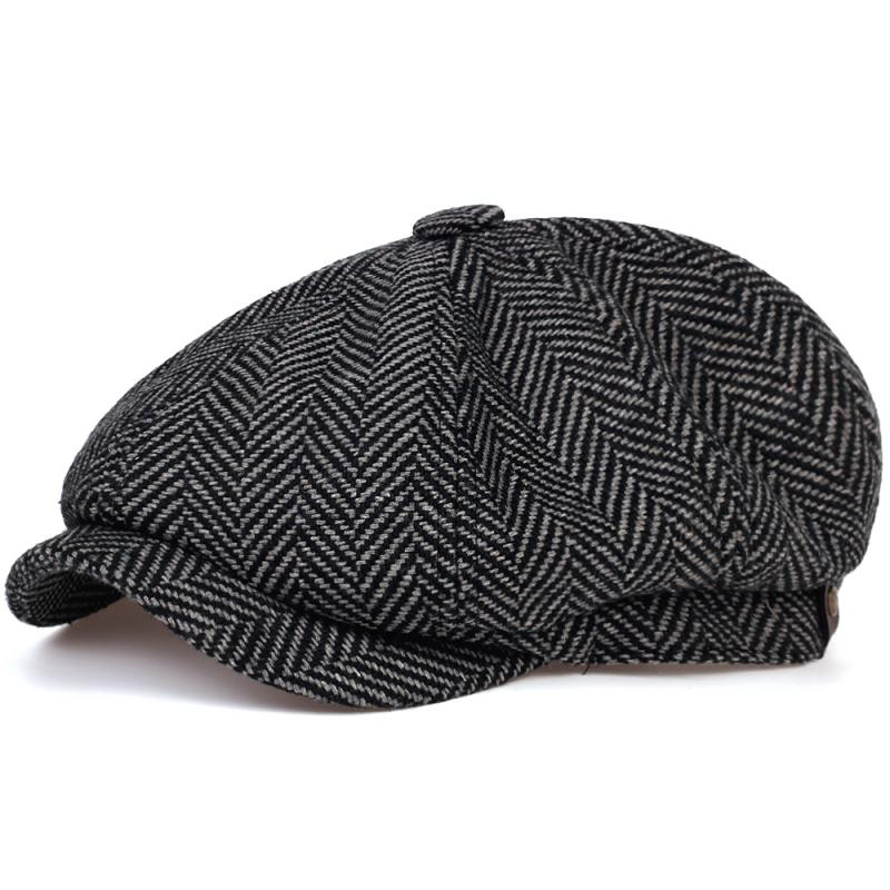 Модные шерстяные кепки газетчика, мужские плоские кепки в елочку, женские мужские британские художники, головные уборы из мягкой искусстве...