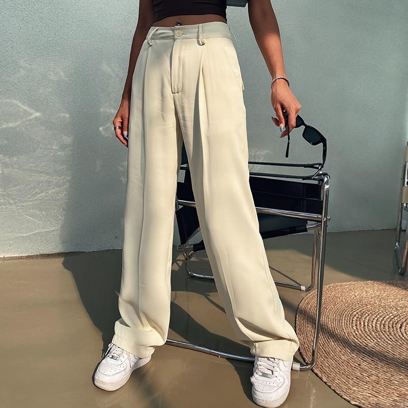 2021 Spring White High Waist Streetwear Wide Leg Pants Women's Fashion Straight Trousers Length Loos