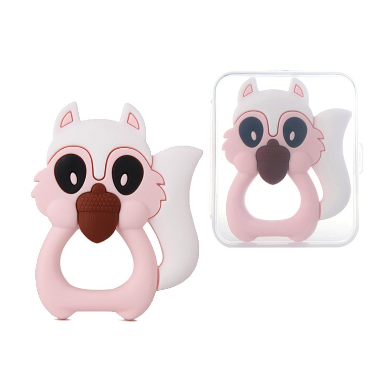 1pcs baby squirrel animal teether silicone teether molar rod cartoon toy baby teether bite for baby