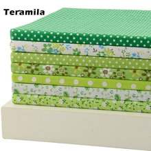7PCS 50cmx50cm fresh green series cotton fabric Patchwork Fabric Fat Quarter Bundle Quilting scrapbooking basic quality  005#