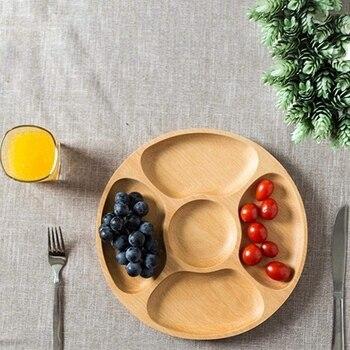 Деревянные закуски, сервировочное блюдо бытовой 5 отделений закуски тарелка для сухих фруктов конфеты поднос круглый разделены блюдо лоток