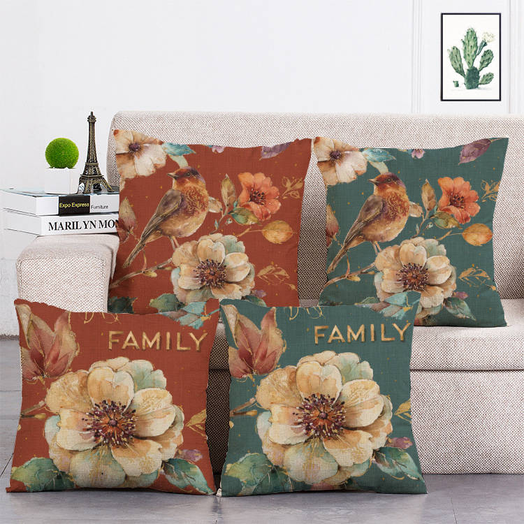 Gran oferta Pastel decorativo Flor Retro Floral viaje interesante historia amor funda de cojín funda de almohada T33