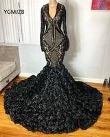 black long sleeves prom dresses mermaid 2020 v neck sparkle sequin 3d flowers african formal graduation dress evening gown