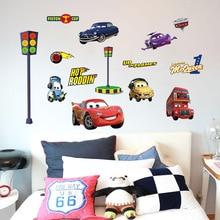 Cartoom-autocollants de décor 3D foudre   Étiquette murale autocollante, CarsWall, pour chambre denfant et garçon, papier peint foudre