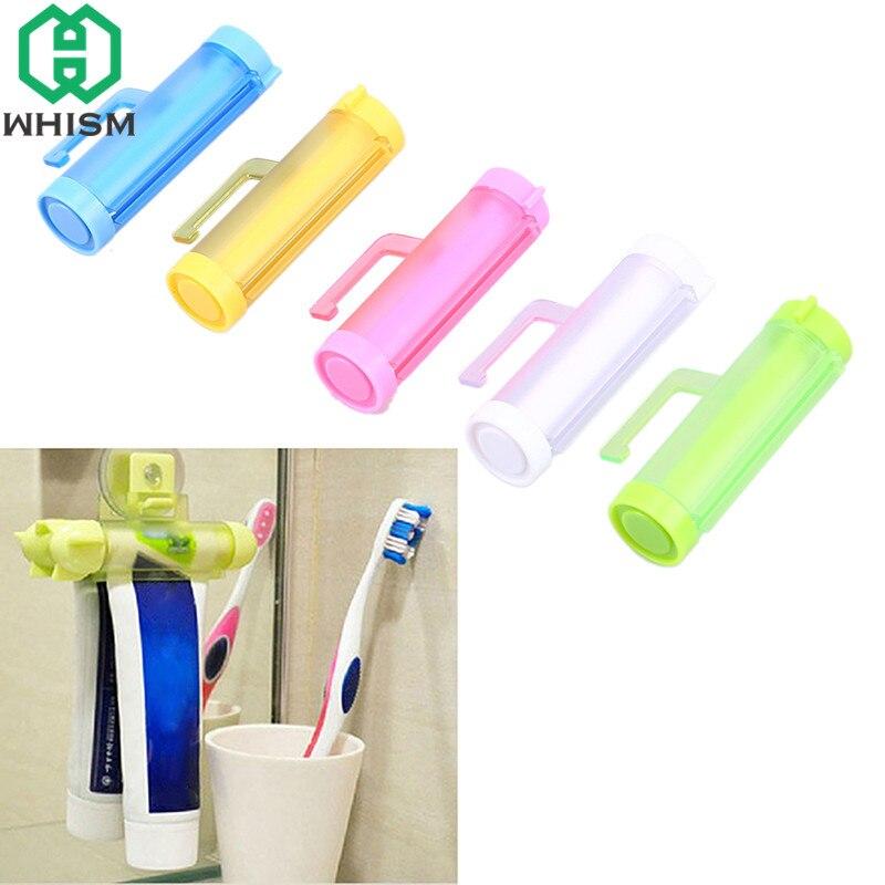 1 Uds. WHISM exprimidor de tubo de plástico, soporte de socio con ventosa colgante, dispensador de pasta de dientes, accesorios de baño