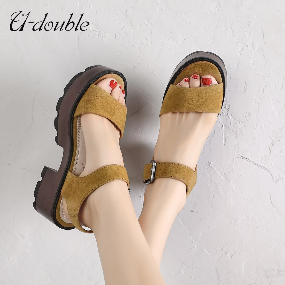 U-DOUBLE Summer Women Casual Shoes Slippers Rome Retro Thick Bottom Open Toe Sandals Beach Slip On Slides Brand Design Sandals