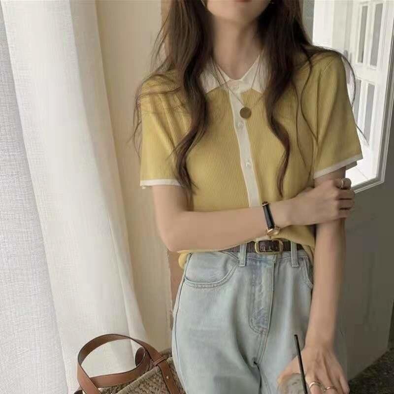 Polo Collar Contrast Color Silk Knitted Short Sleeve T-shirt Women's Summer 2021 New Top Design