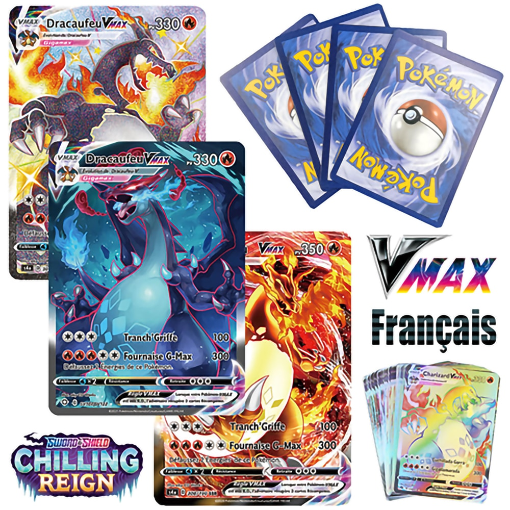 2021 New Pokemon cards in French Latest Vmax V Energy Holographic Rainbow Game Card Kids Toys franç