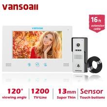 Système dinterphone vidéo filaire VANSOALL 7 TFT LCD avec sonnette extérieure étanche et câble dextension de 5m