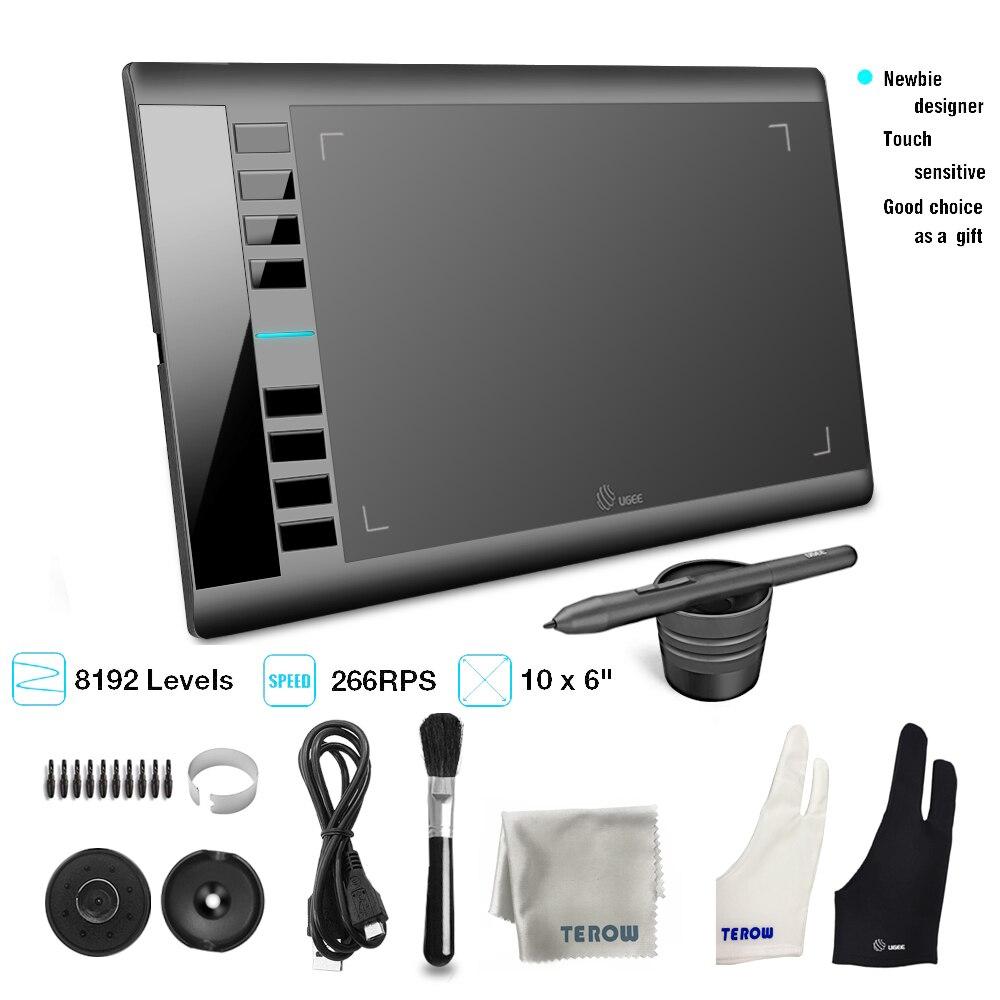 Tableta de dibujo gráfico UGEE M708 tableta de escritura de diseñador de arte 266RPS 8192 niveles tableta con lápiz pasivo para ventana Android Mac