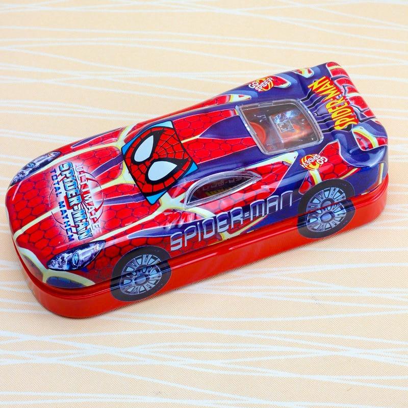 Caja de lápiz de doble capa de dibujos animados de estilo de coche de Disney funda de papelería de Mickey Spiderman
