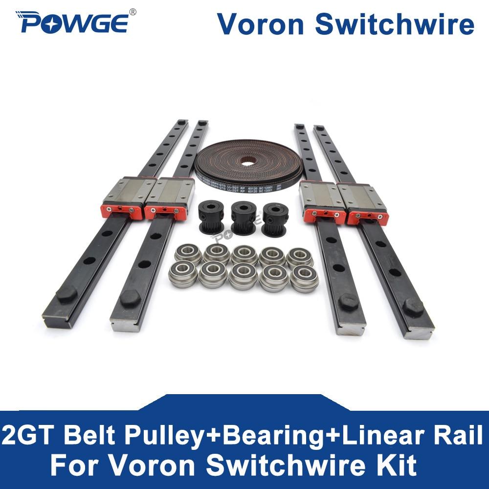 POWGE VORON مفاتيح الحركة عدة غيتس GT2 LL-2GT RF 5/10 متر فتح حزام 20 الأسنان 2GT بكرة الخطي السكك الحديدية MGN12H(300 مللي متر) F695 2RS