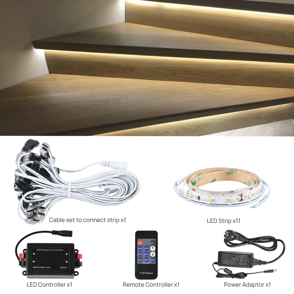 11 Steps Bright White 4000K 0.5M Stair light with remote-Plug and Play enlarge