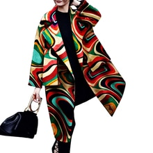 Fashion Print Trench Coat Long Autumn Women's Windbreaker Casual Plus Size Long Sleeve Oversize Lape
