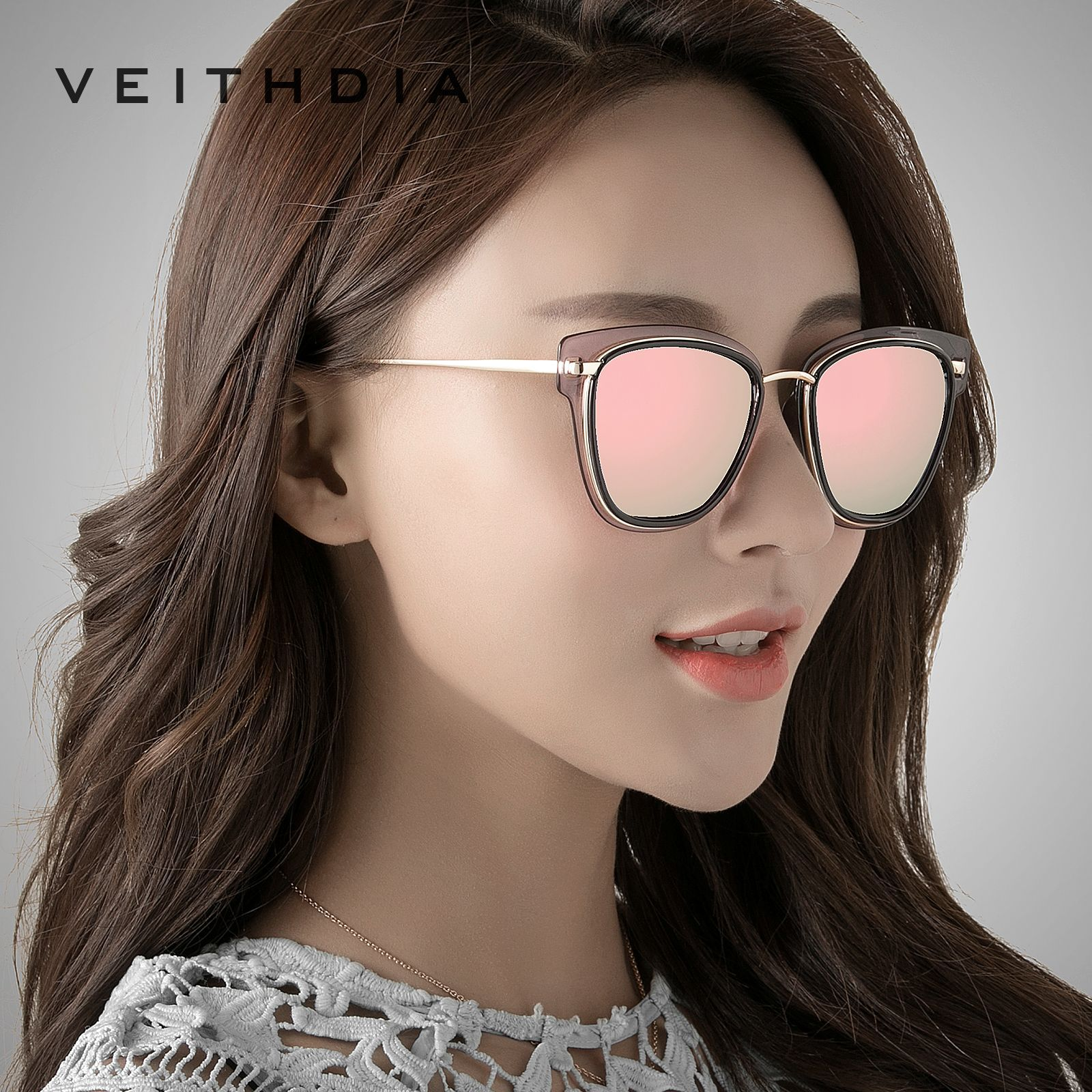 VEITHDIA Women's Sun glasses Polarized Mirror Lens Luxury Ladies Cat Eye Designer Sunglasses Eyewear For Women oculos 3038