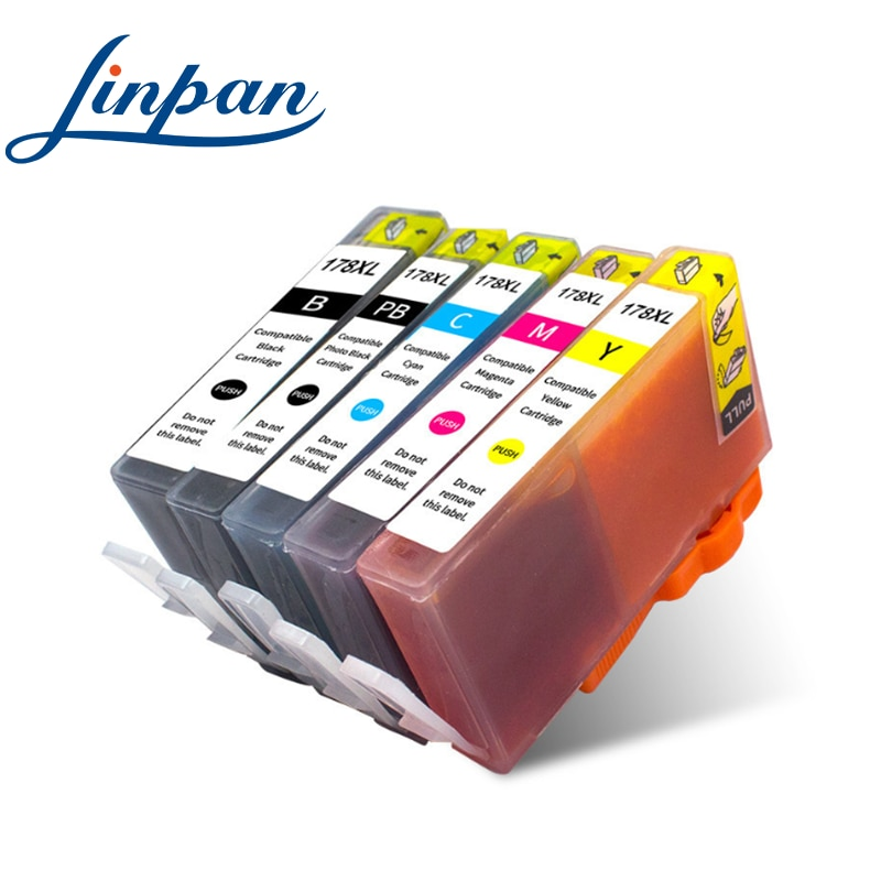 5PK compatible Ink Cartridge for HP 178 for HP178 178XL Photosmart 5510 5515 6510 7510 B109a B109n B110a Printer