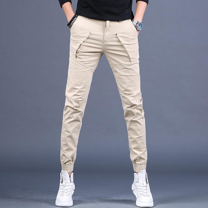 Модные мужские брюки-карго цвета хаки, Осенние повседневные хлопковые облегающие брюки