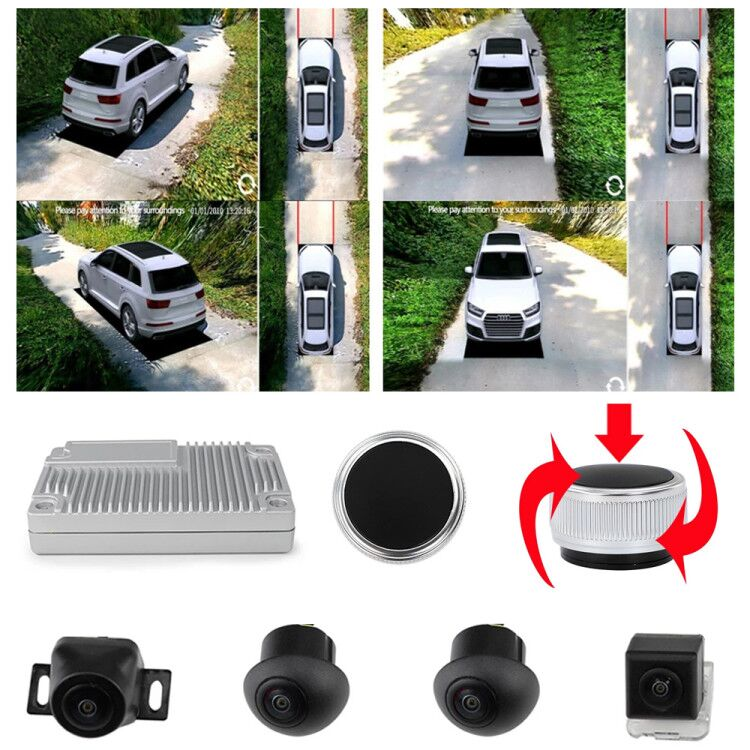 Super 3D Car Camera Surround View 360 Degree Bird's Eye Panoramic View DVR System 4 1080P Side View