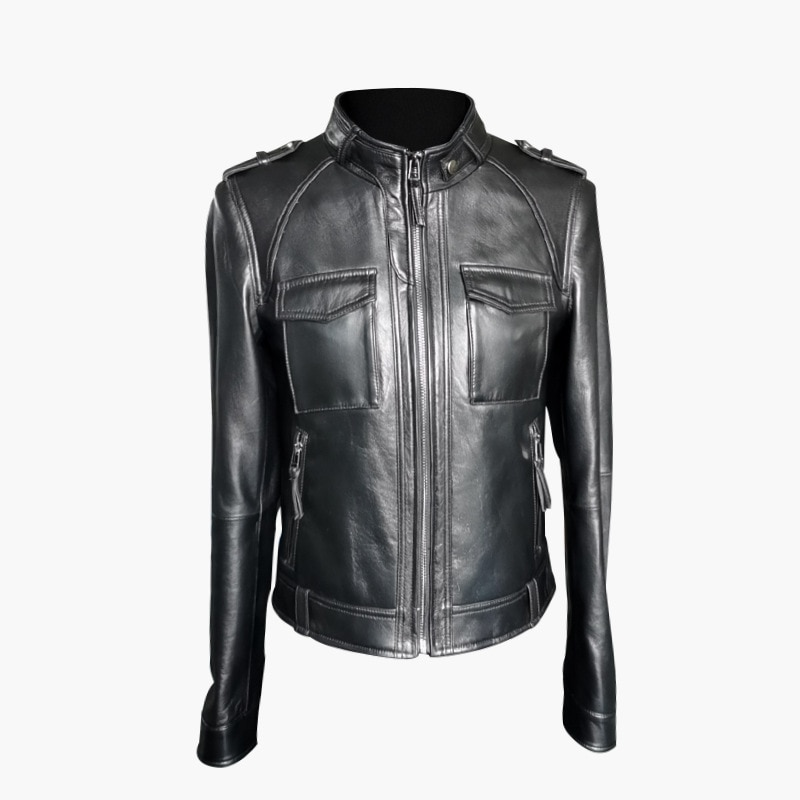 Haining leather dress women's short leather dress casual coat leather leather coat motorcycle women's leather coat women's coat enlarge