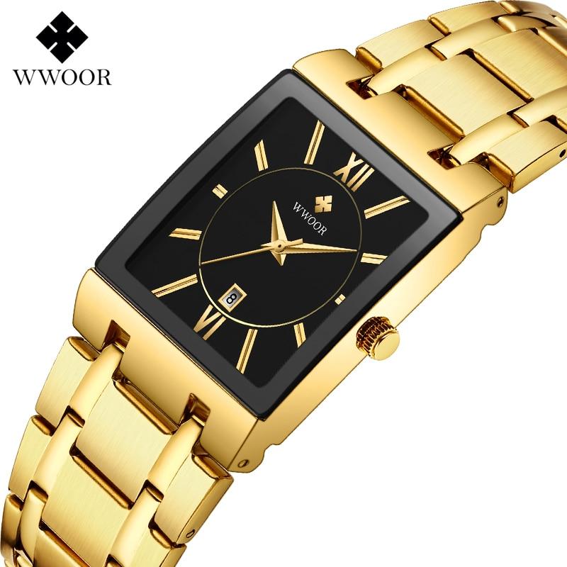 Sports Business Men Watch 2020 WWOOR Top Brand Luxury Gold Black Quartz Watch Men Golden Square Waterproof Wrist Watch Man Clock