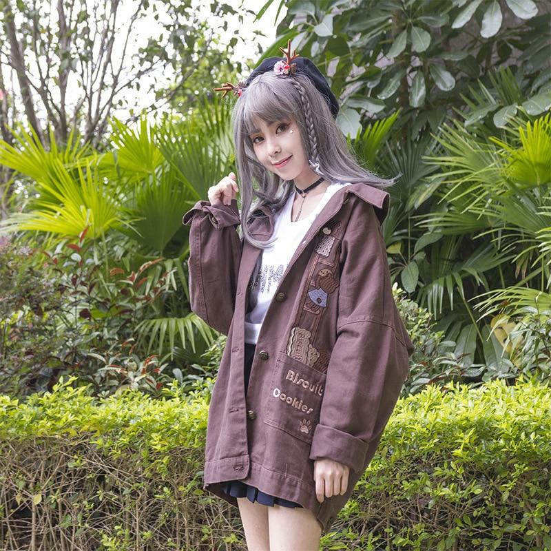 Biscuit & Cookie ~ Cute Womens Trench Coat Boyfriend Style Loose Lolita Denim Jacket