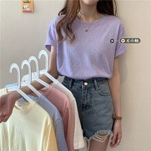Solid Color Short-Sleeved T-shirt Women's Clothing 2021new Korean Style Loose All-Matching Short Inn